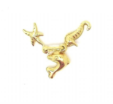 9ct Yellow Gold Beach / Seaside Charm with Dolphin / Starfish / Seahorse    1839